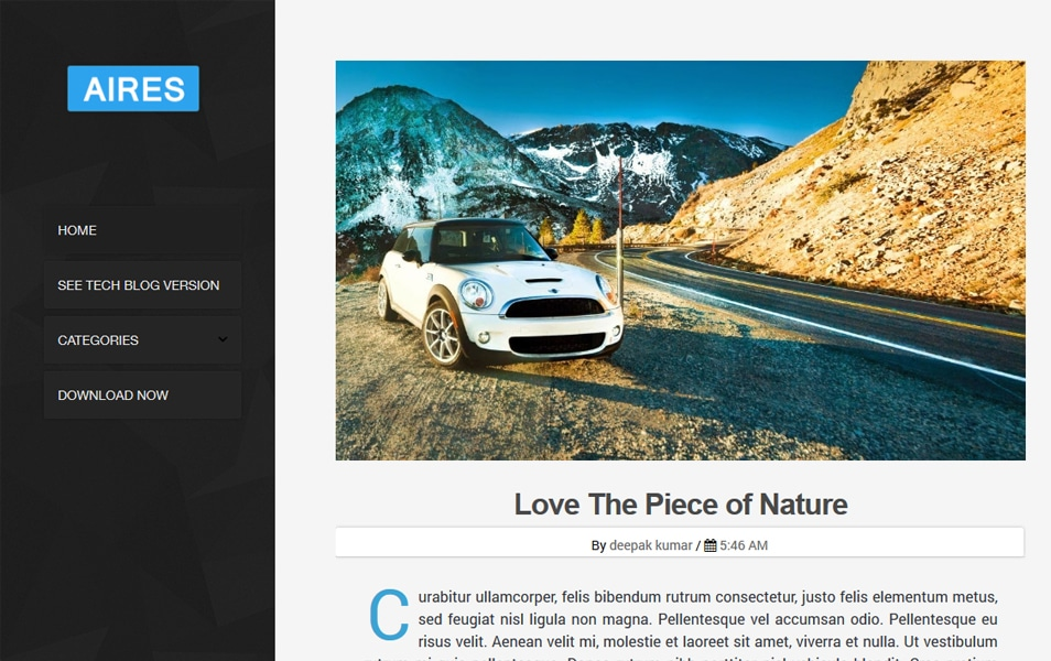 Aires Blog Responsive Blogger Template