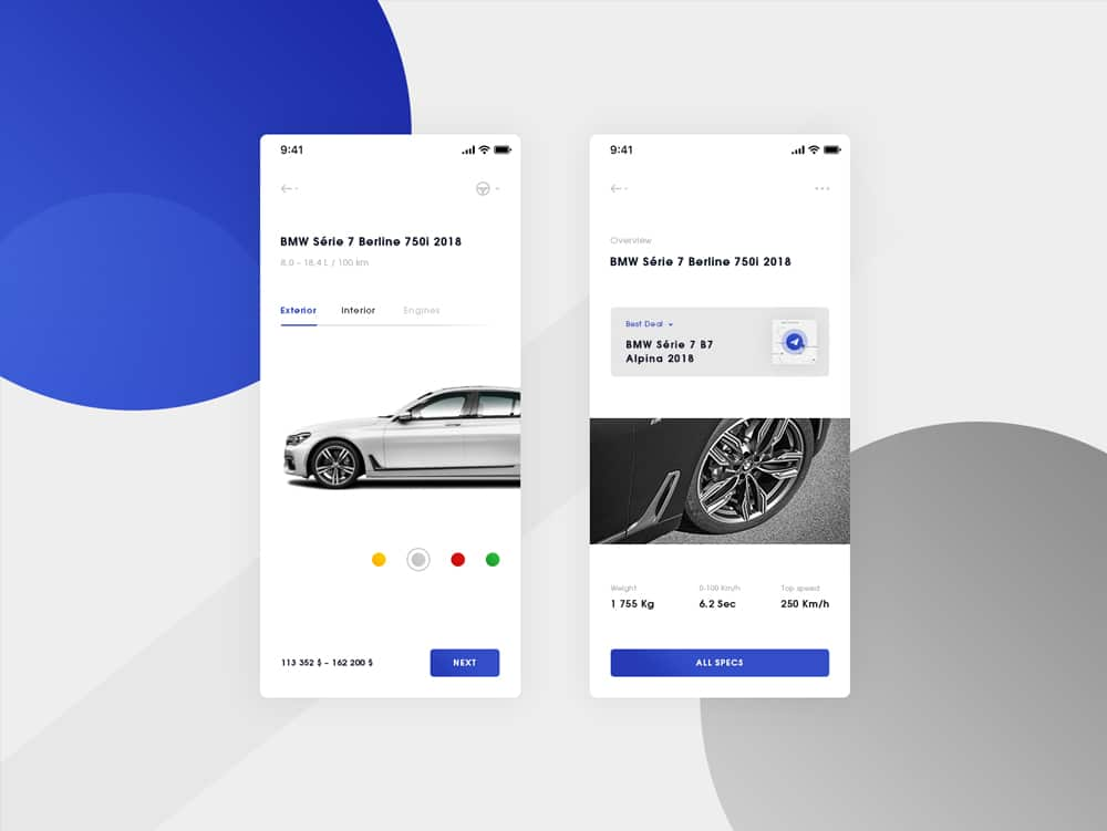 BMW iOS Mobile App Design Template PSD