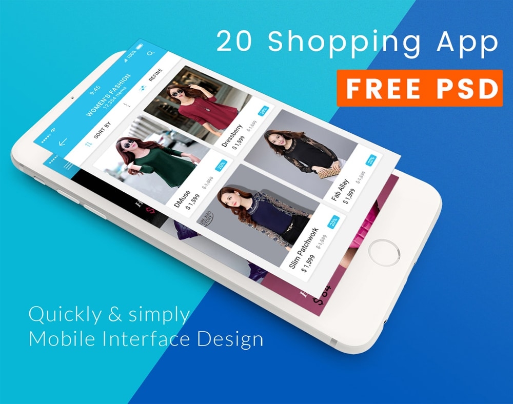 Blue Color Shopping Mobile App UI PSD