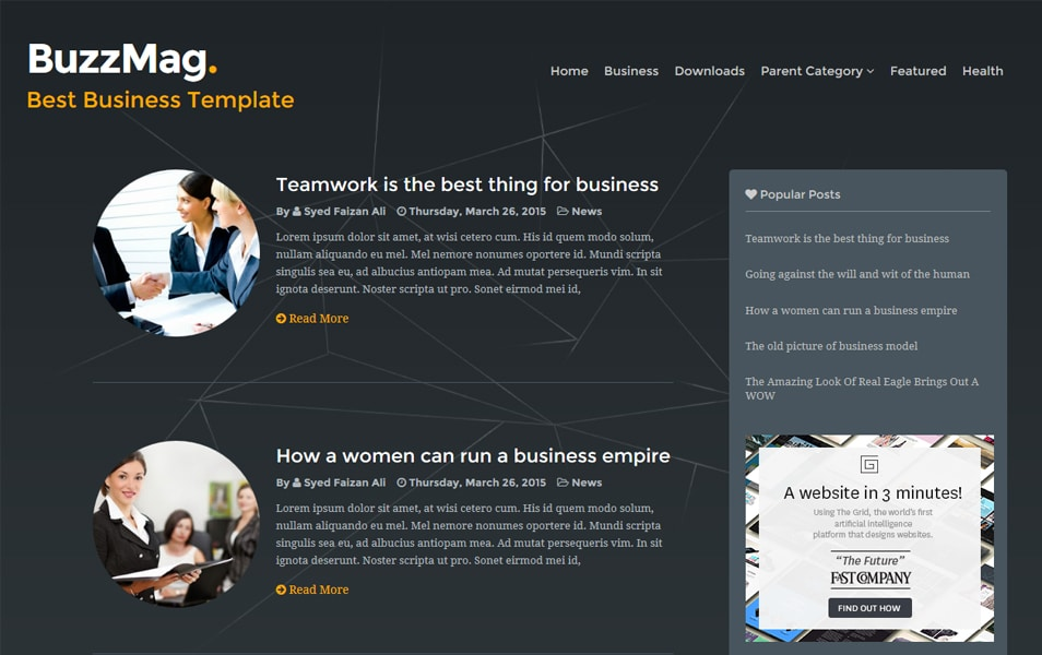 BuzzMag Responsive Blogger Template