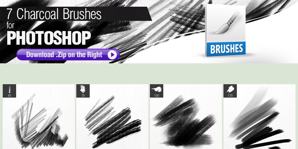 7 Charcoal Brushes for Photoshop