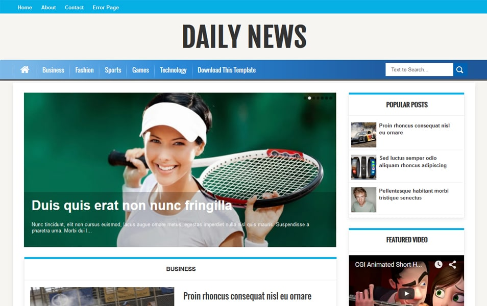 Daily News Responsive Blogger Template