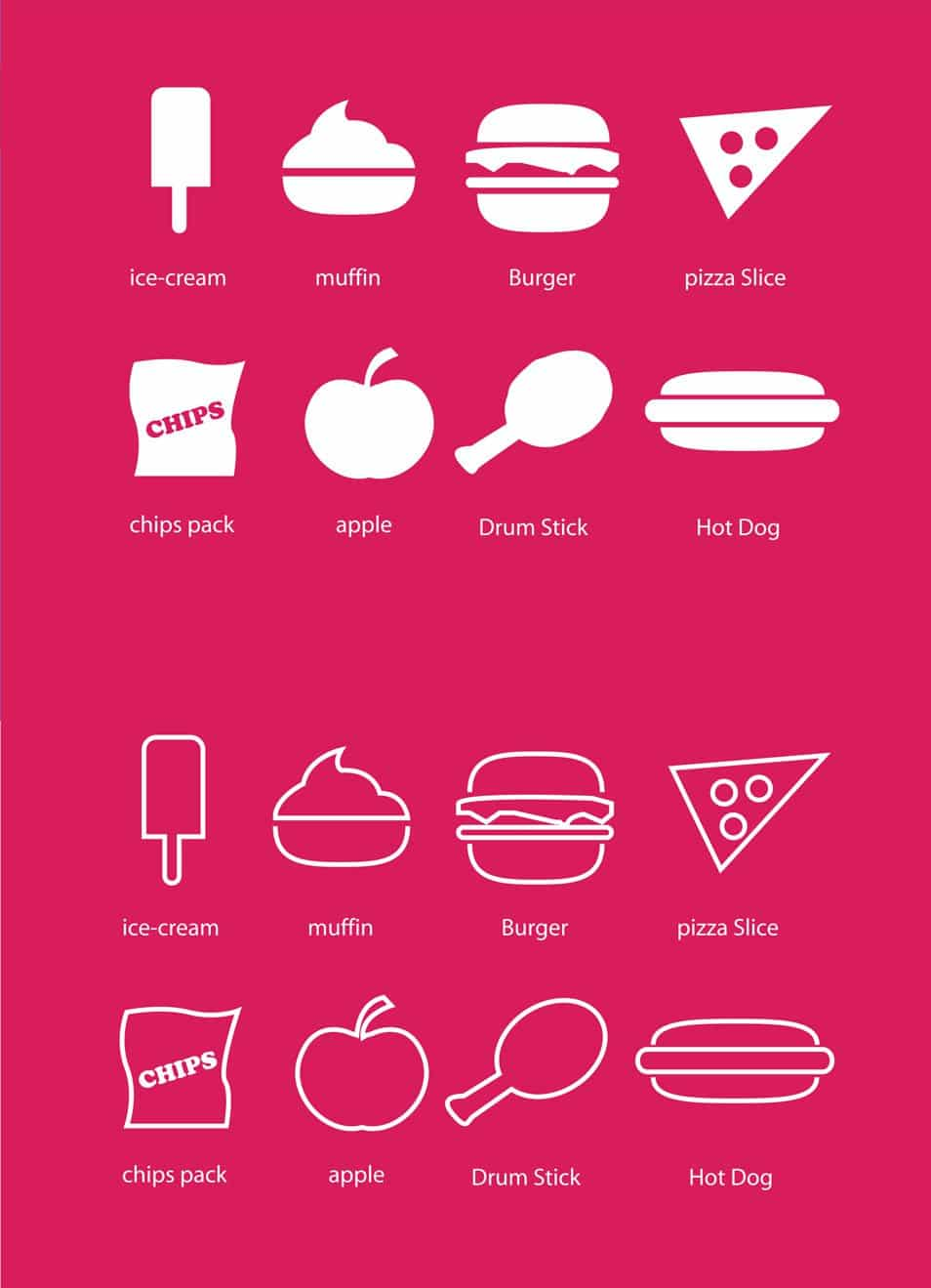 Fast Food Mix Flat Icons Line Version and Default