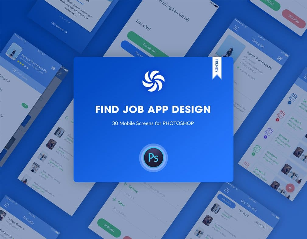 Find Job Application UI PSD