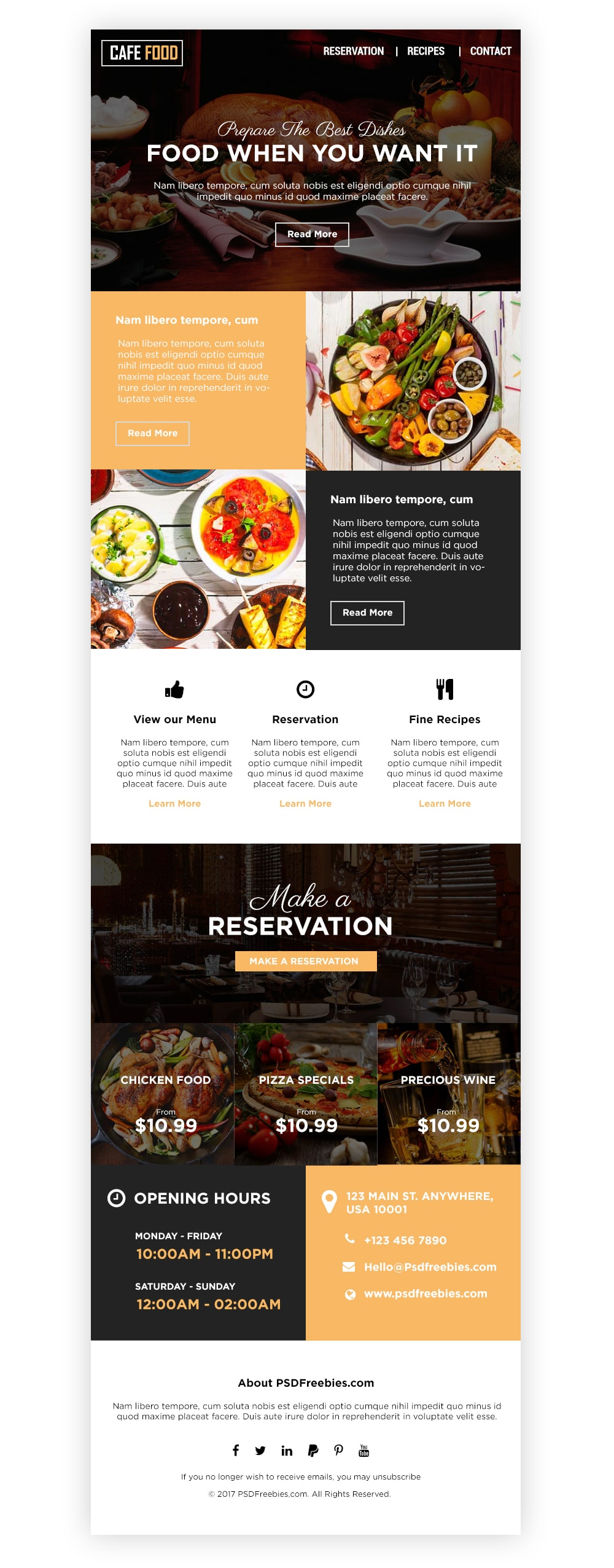 Food and Restaurant E-newsletters Template PSD