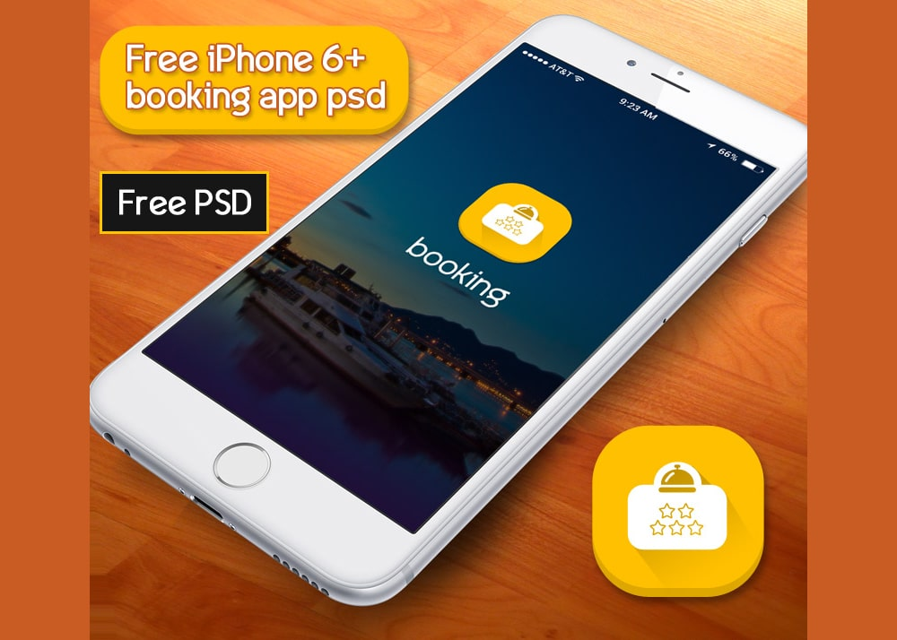 Free Booking App UI PSD for iPhone 6+
