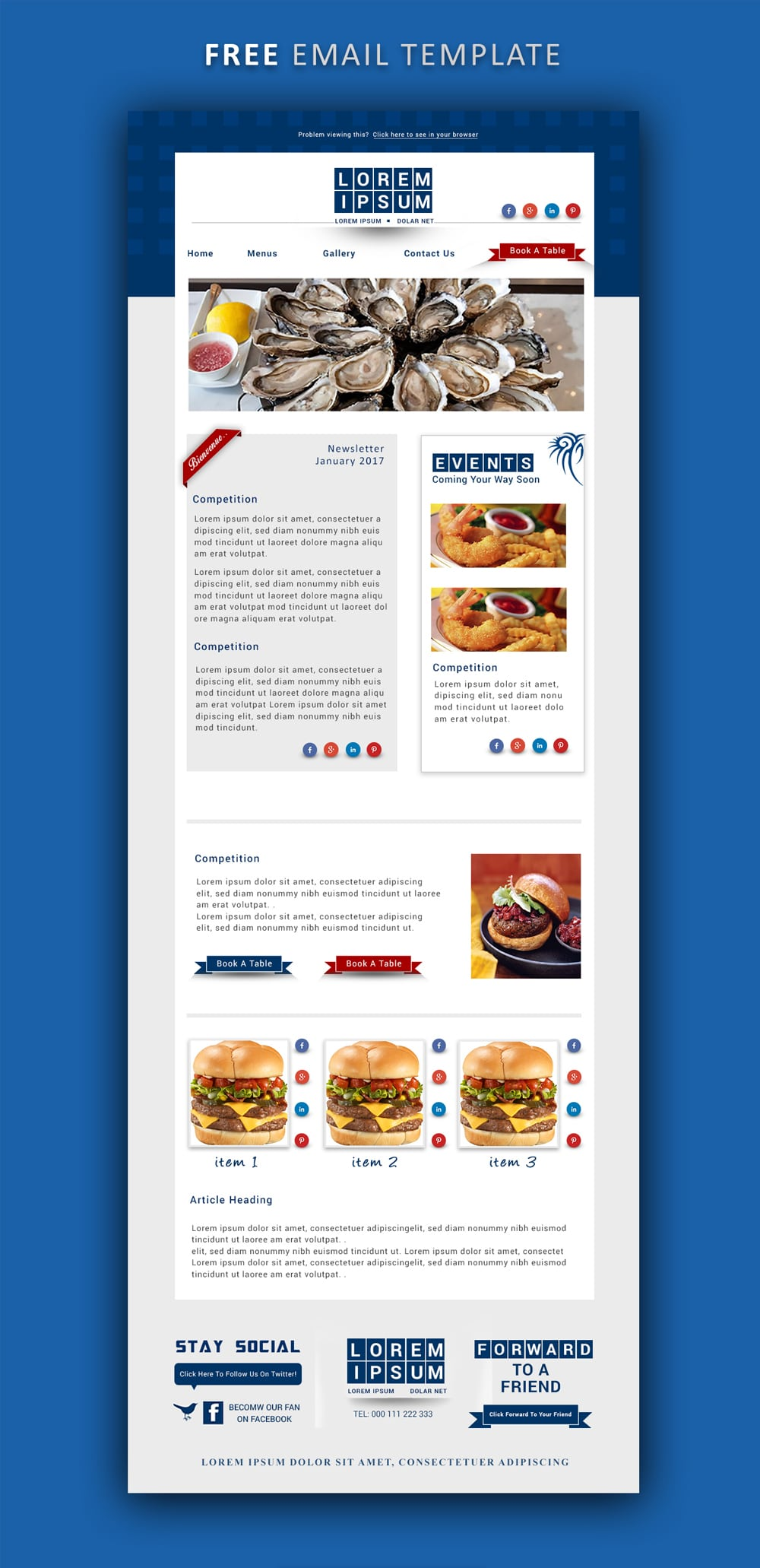Free Email Newsletter Template PSD