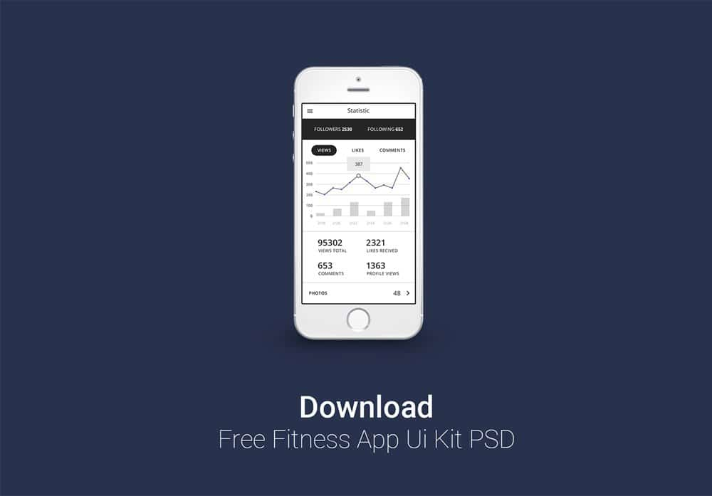 Free Fitness Tracking App Ui Kit PSD
