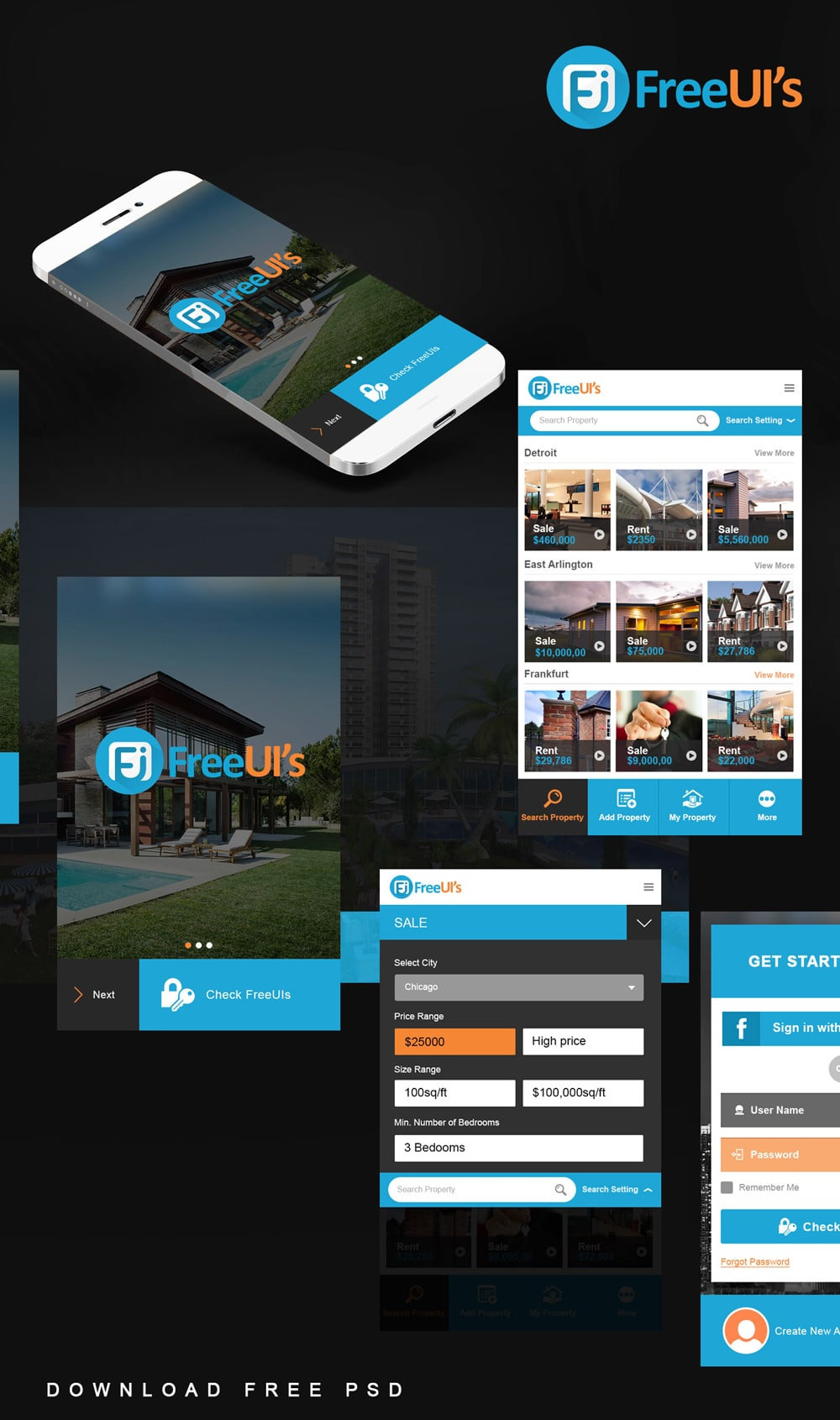 Free Real Estate App UI PSD