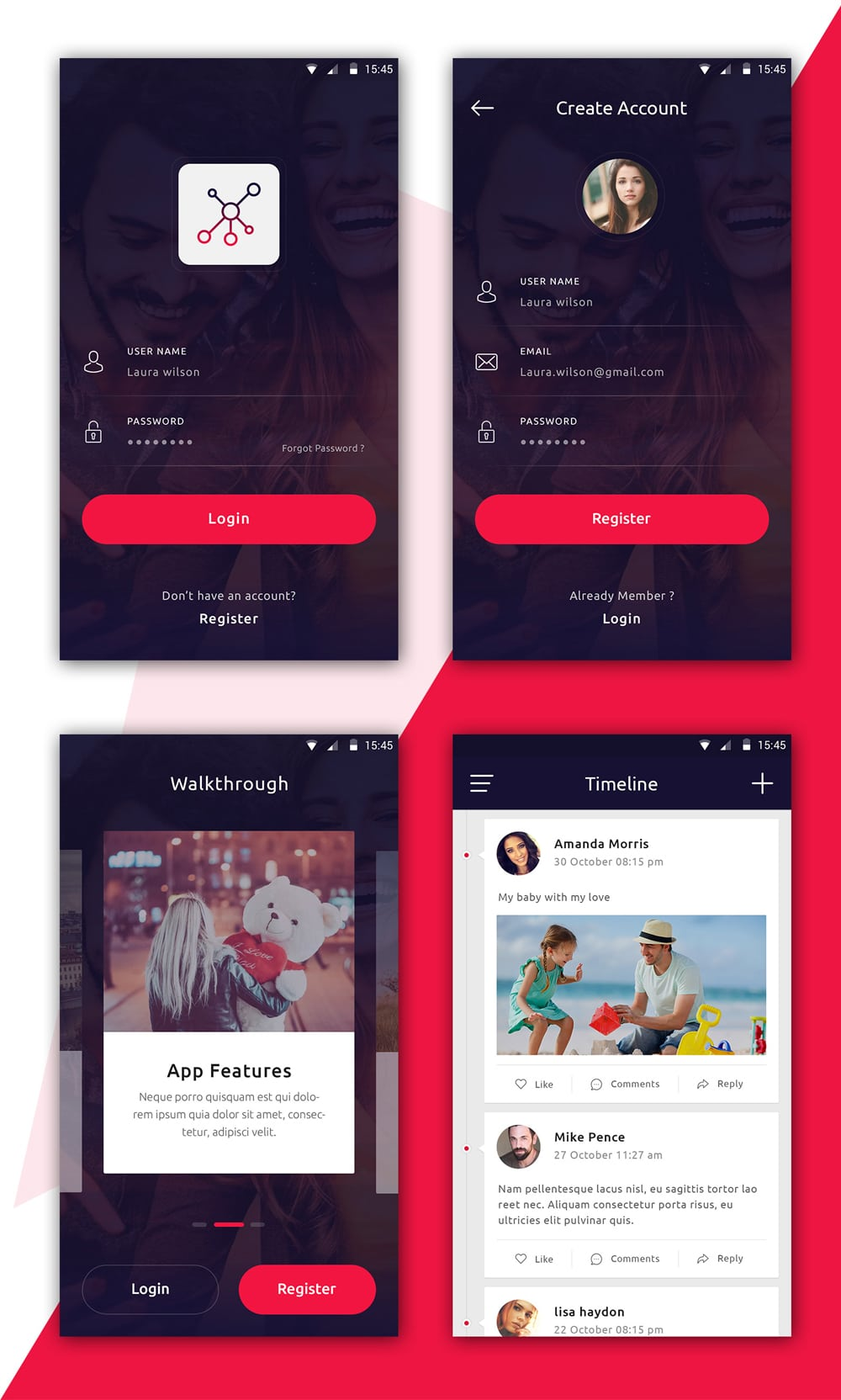 Free Social App UI PSD for Mobile App