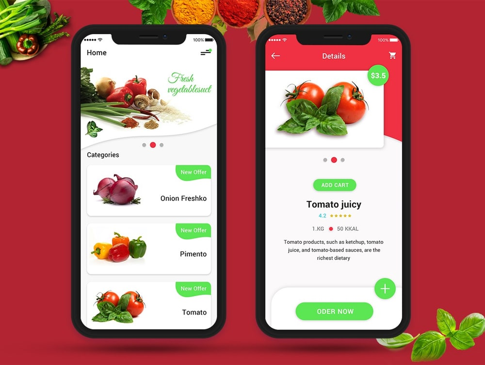 Fresh Vegetables iOS App UI PSD