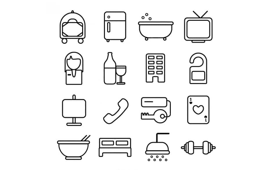 Hotel room line icons