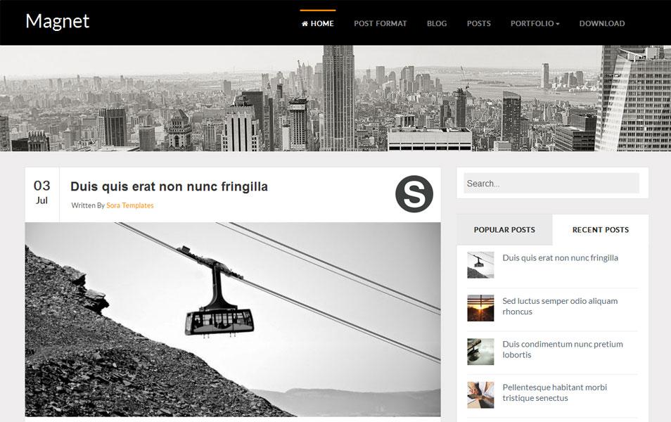 Magnet Responsive Blog Blogger Template