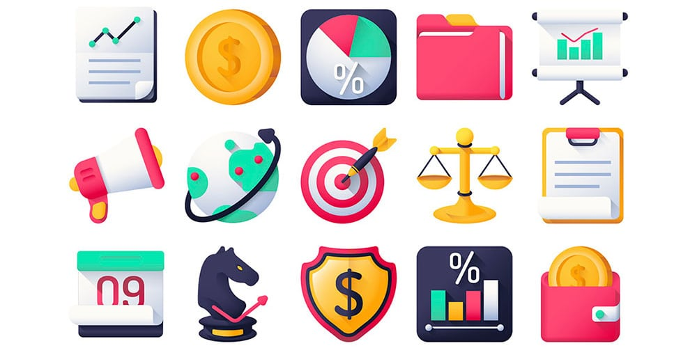 Marketing Content Colorful Icons