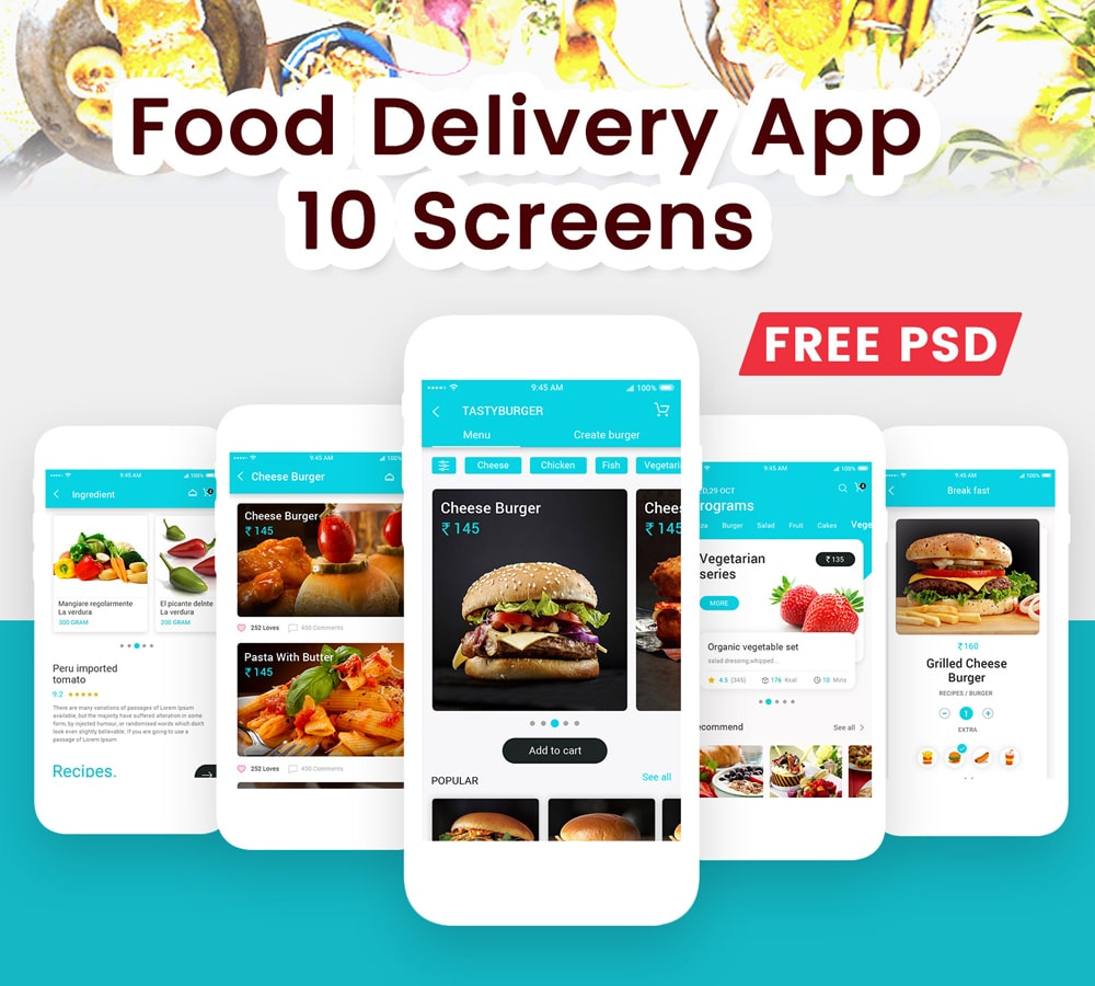 Material Design Food Delivery App UI PSD