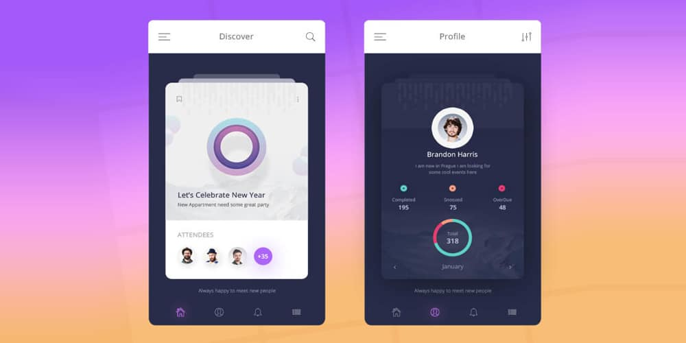 Mobile App UI Design PSD
