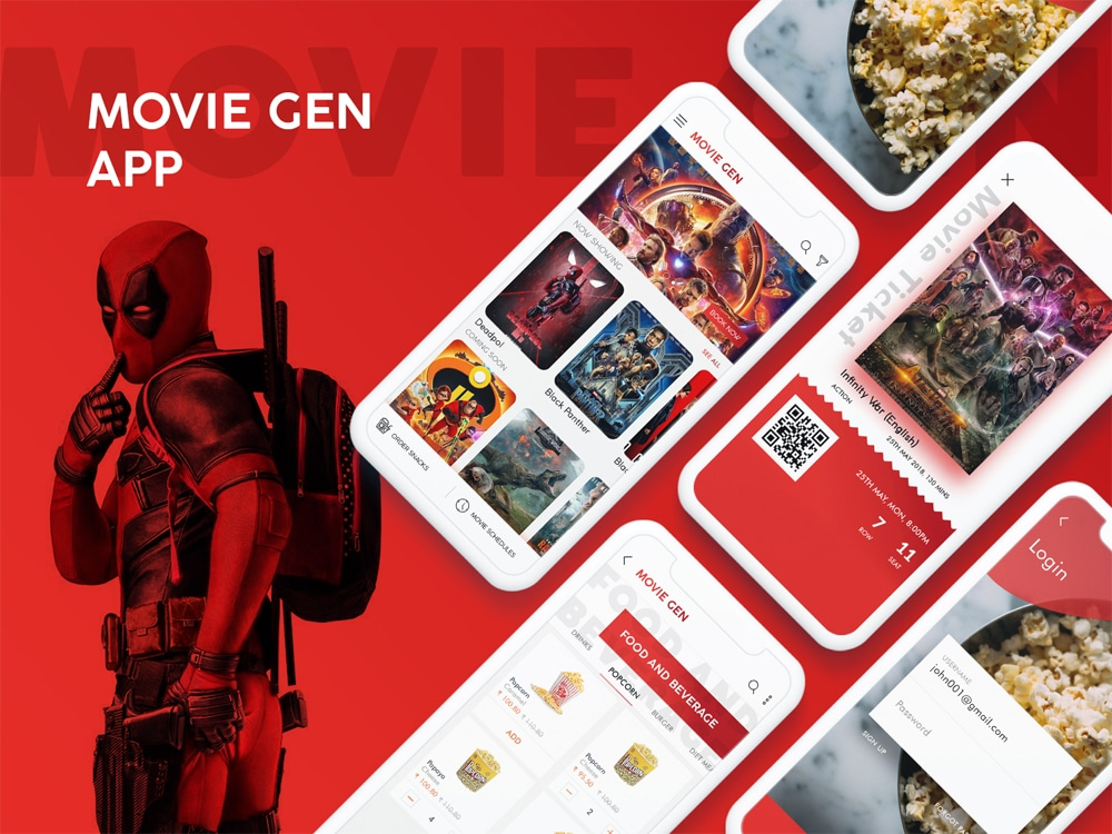 Movie Tickets Booking App UI PSD
