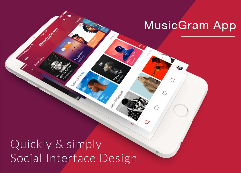 Music App Design UI PSD
