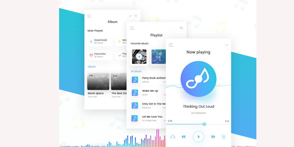 Music Mobile App UI PSD