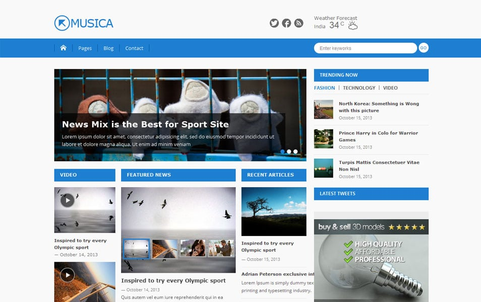 Musica- Free Magazine WordPress Theme