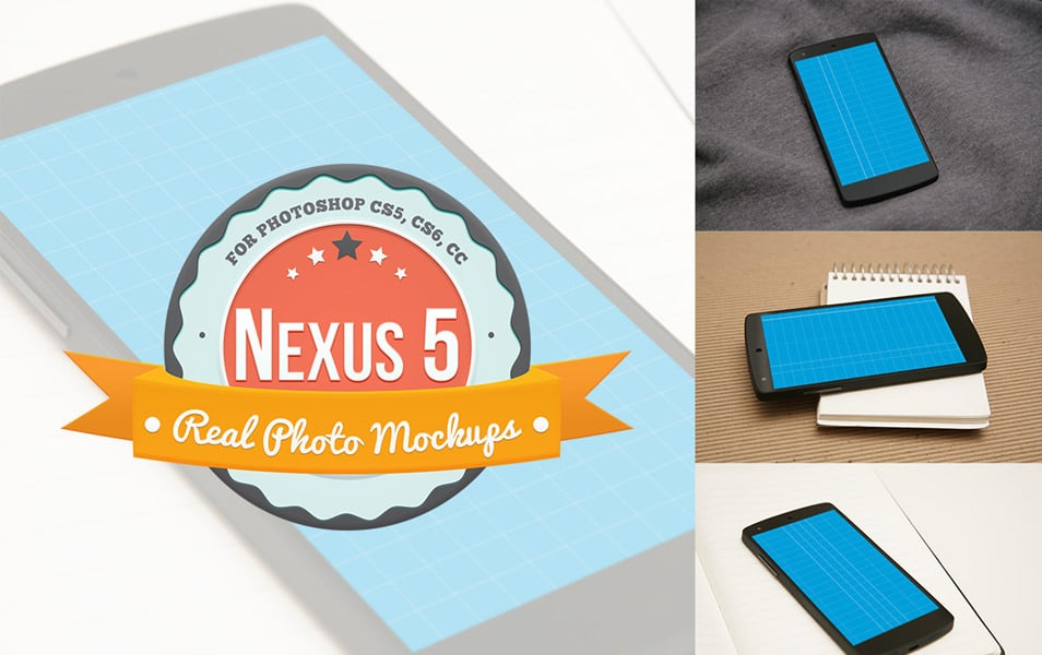 Nexus 5 Product Mockups for Photoshop (PSDs)