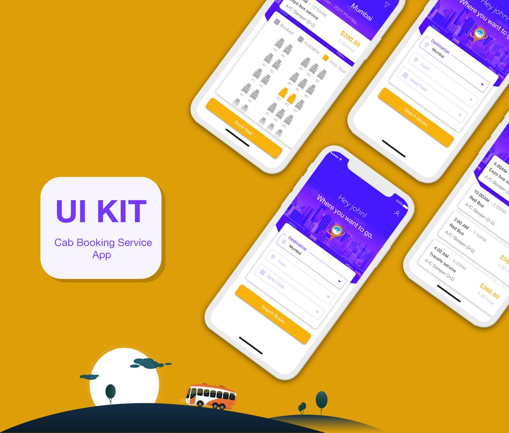 Online Bus Tickets Booking Mobile App UI PSD