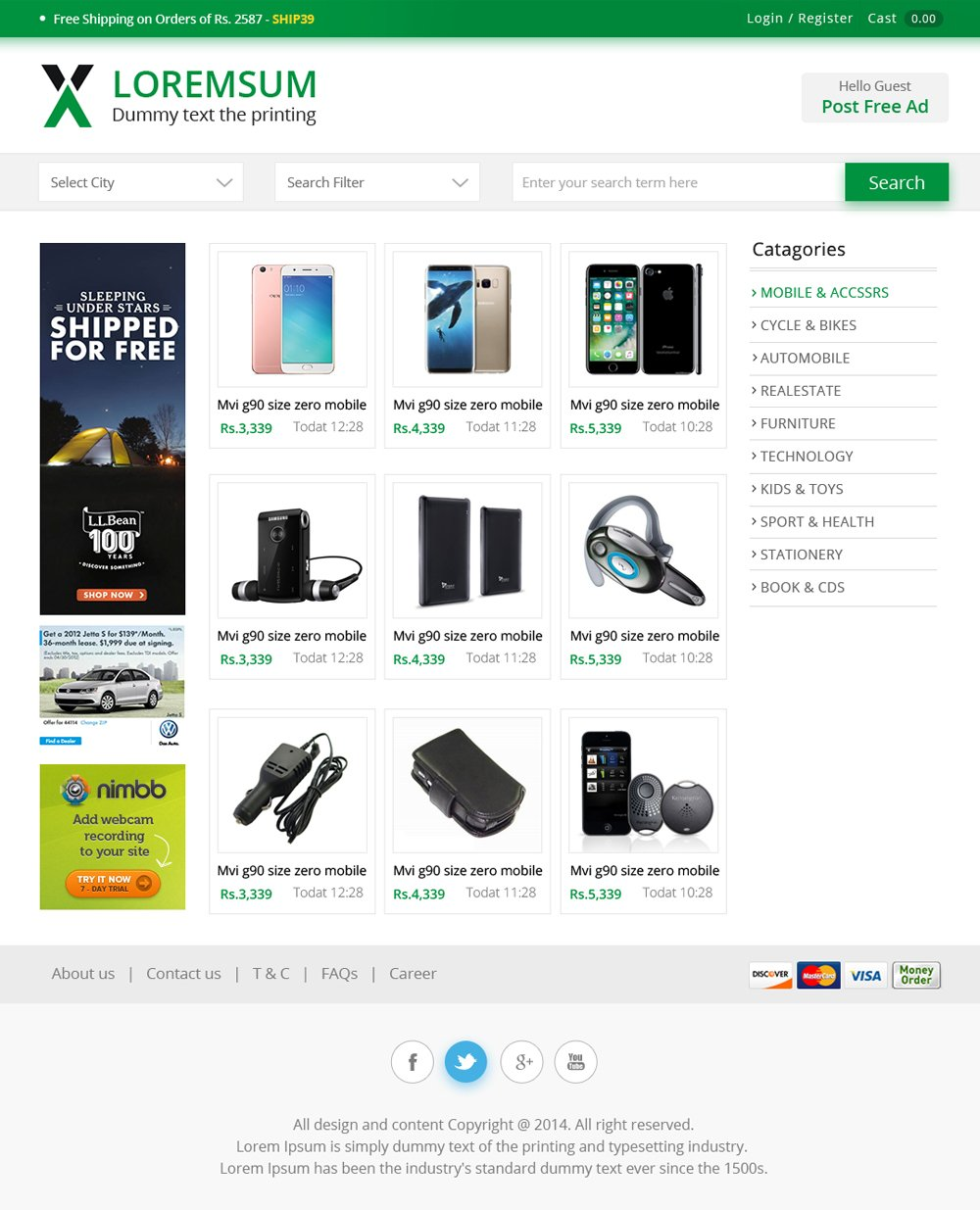 free ecommerce web templates psd css author