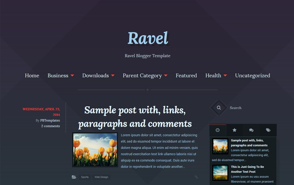 Ravel Minimalist Blogger Templates