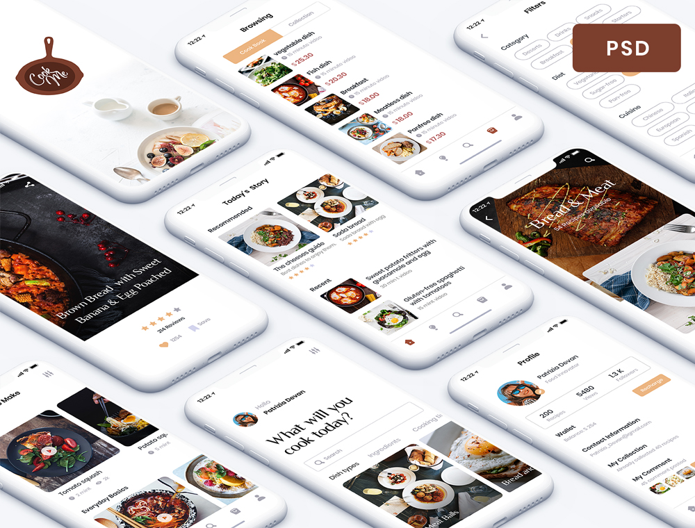 Recipe App UI Kit PSD