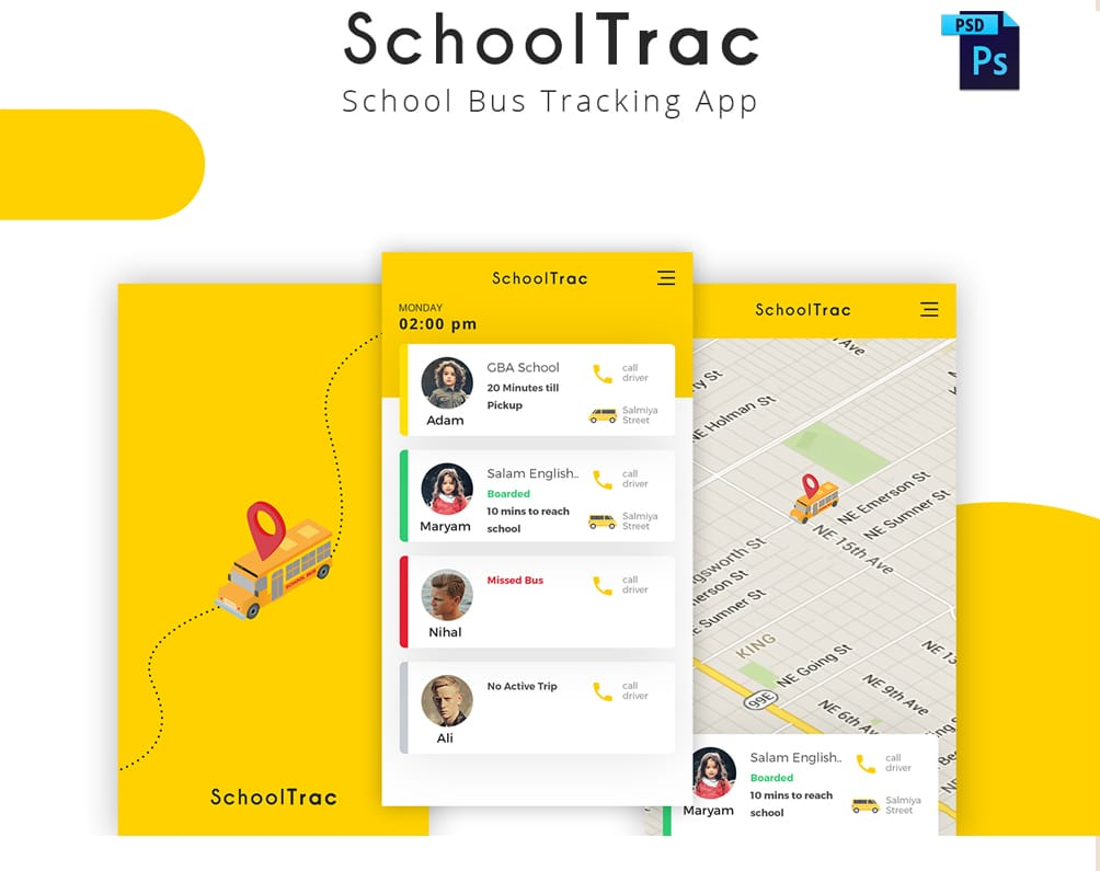 SchoolTrac School Bus Tracking App UI PSD