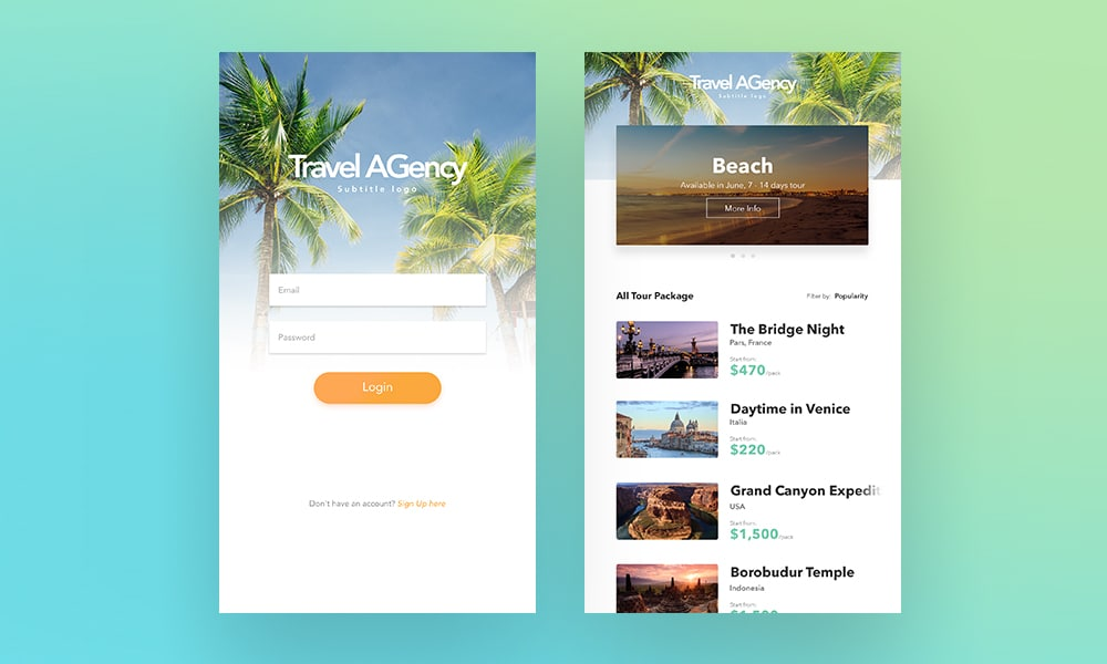 Simple Travel Agency App PSD
