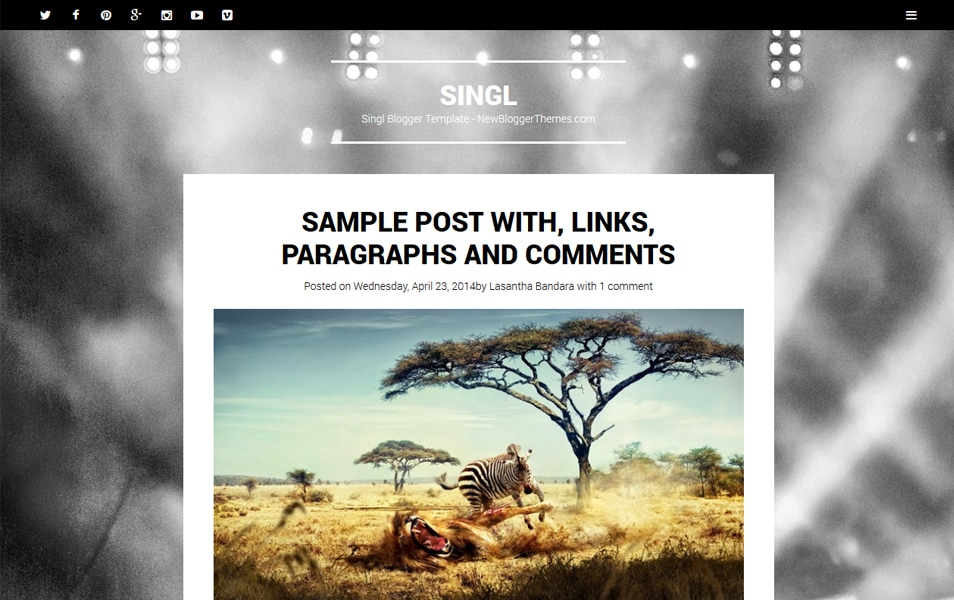 Singl Responsive Minimalist Blogger Template