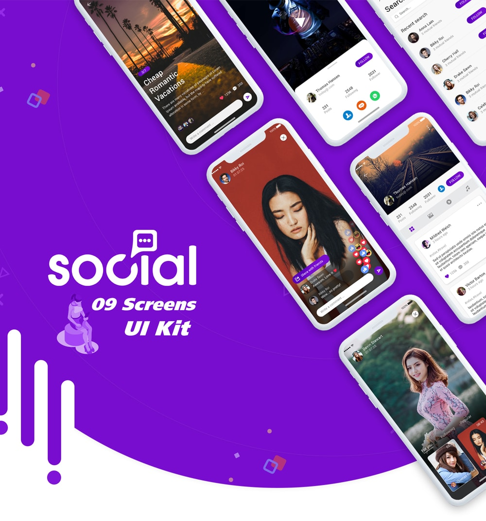 Social App UI Kit Design PSD