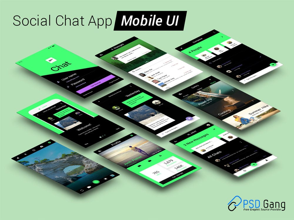 Social Chat App Mobile UI PSD