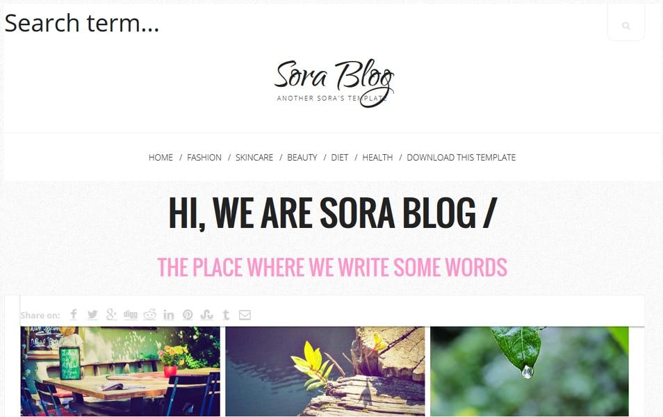 Sora Blog - Personal Blog Blogger Template
