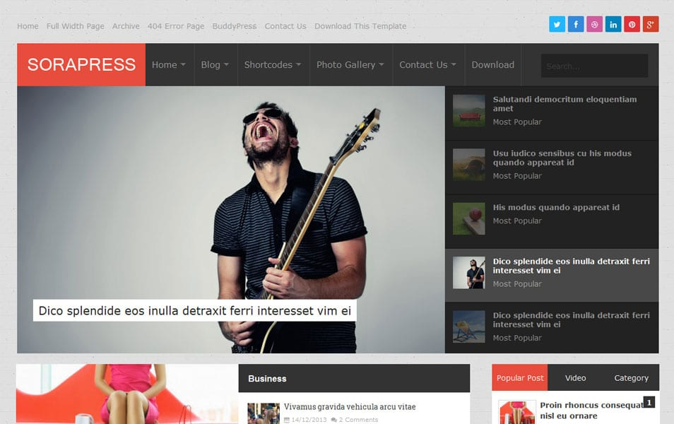 Sora Press Responsive Magazine Blogger Template