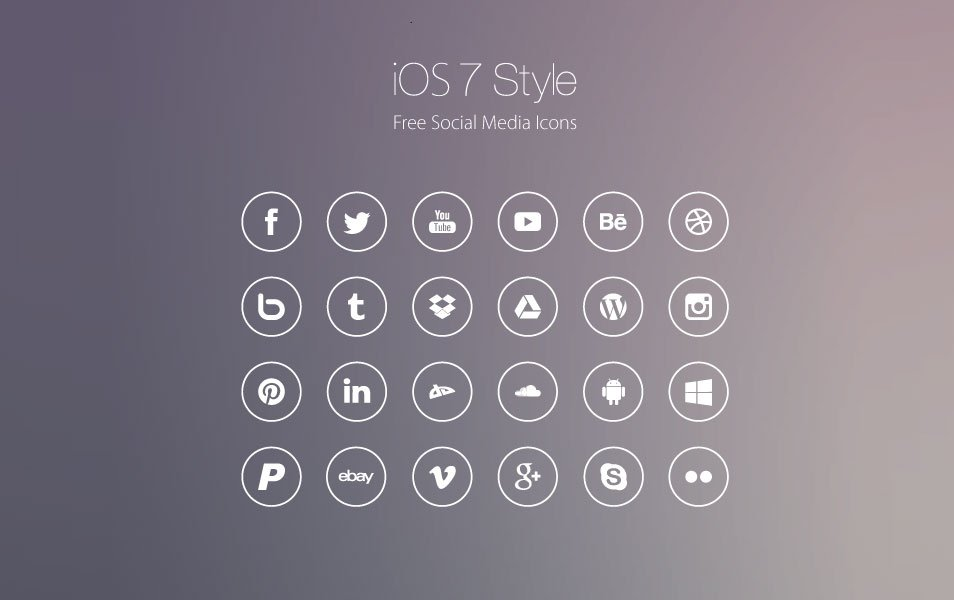 iOS7 Style Social Media Line Icon set
