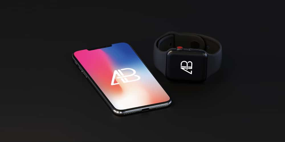 iPhone X and Apple Watch Series 3 Mockup