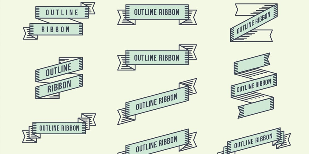 Geometric Outline Vector Ribbons