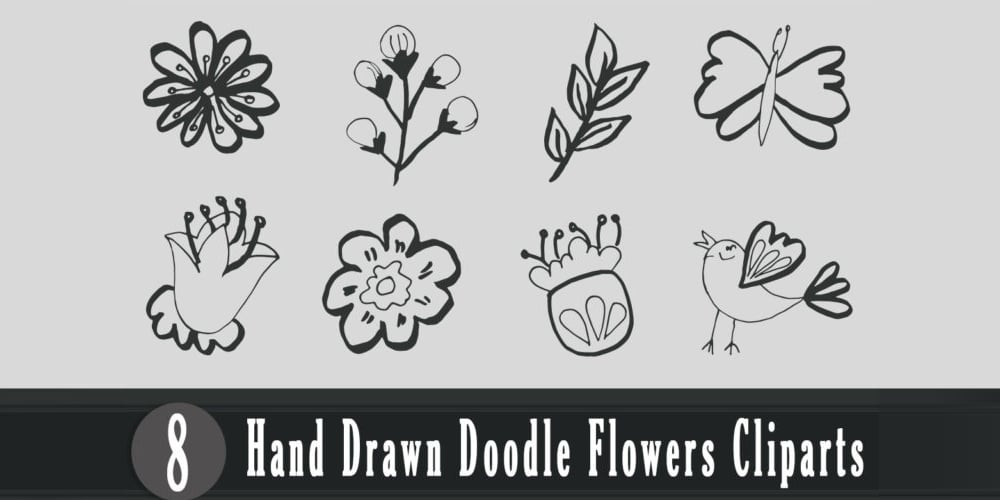 Handmade Doodle Flowers Cliparts