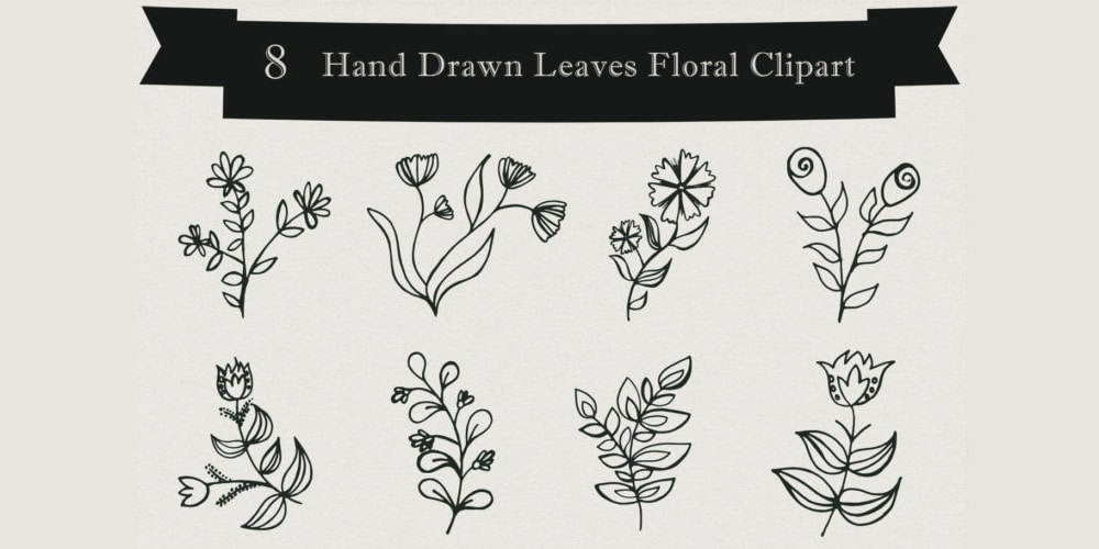 Handmade Leaves Floral Clipart
