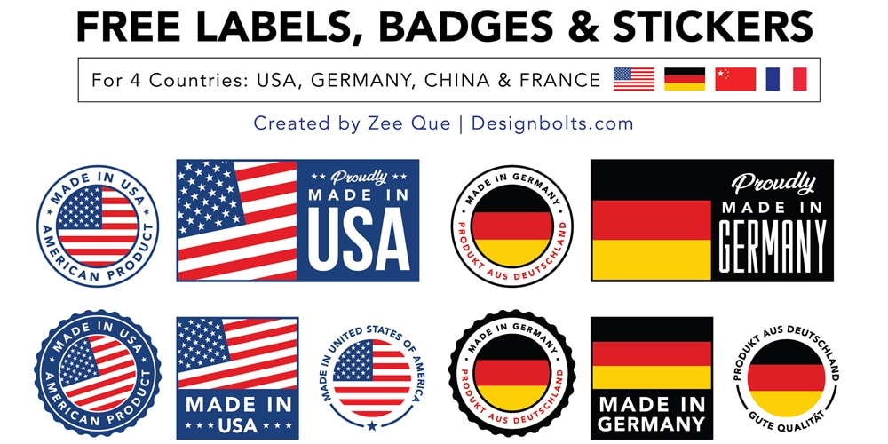 Made in USA, Germany, China & France Labels, Badges & Stickers
