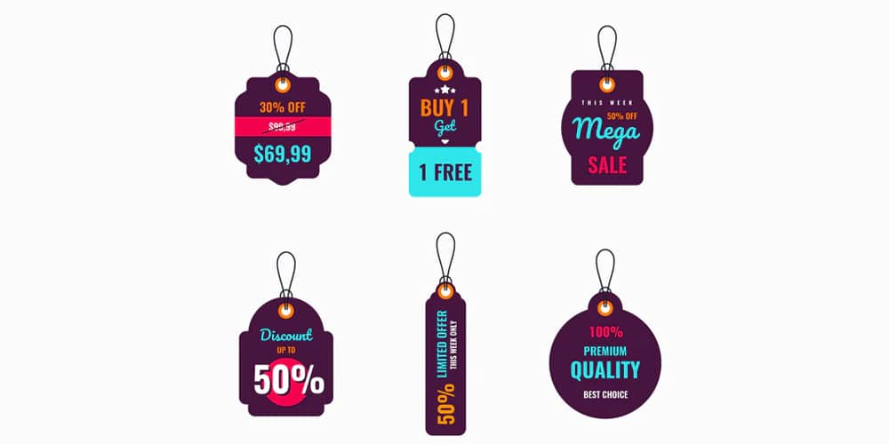 Vector Price Tags Labels