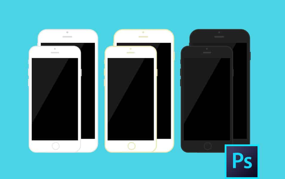 iPhone 6s / iPhone 6 Plus Flat PSD Template
