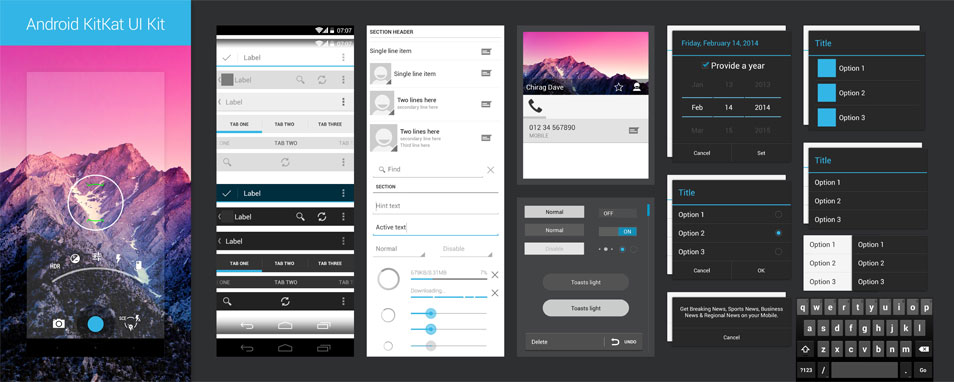 Android 4.4 KitKat UI Kit
