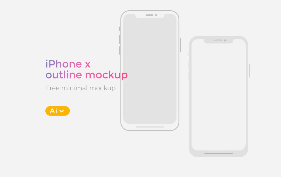 FREE iPhone X Illustrator Wireframe Mockup