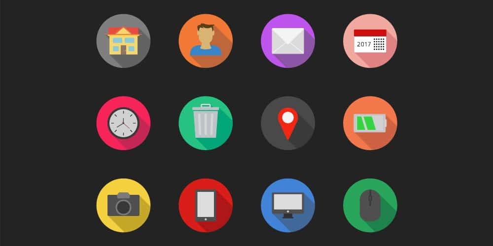 Flat Long shadow Icons