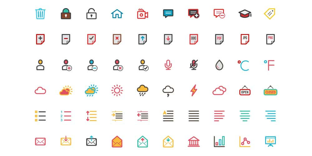 Free Flat Color Essentials Icons