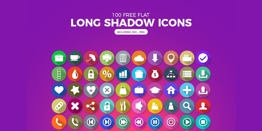 Free Flat Long Shadow Icons