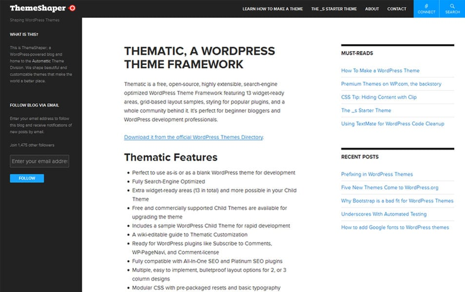 Thematic WordPress Theme Framework